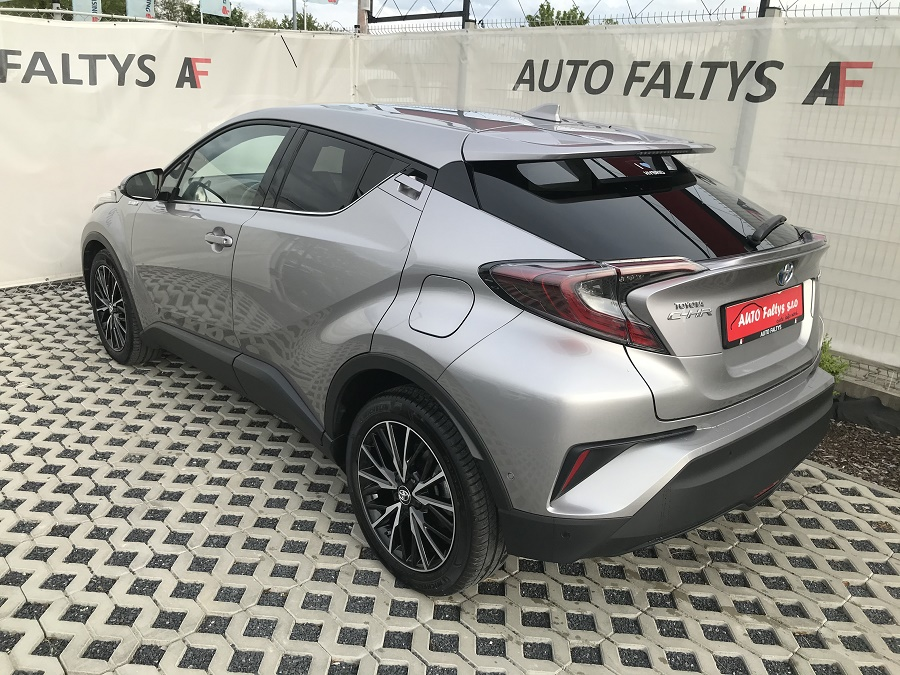 Grey Toyota C-HR, front and rear view of the body car with futuristic design, dealer Auto Faltys