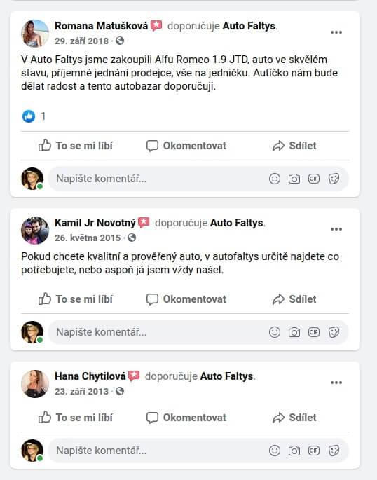 Recenze na Auto Faltys na Facebooku