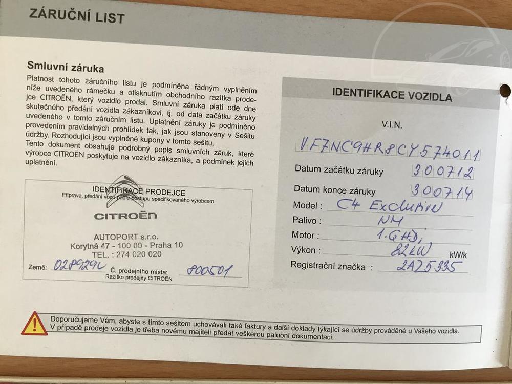 Karoserie Citroenu C4 v barvě světle hnědé metalízy, z roku 2012, najeto 85.007 km, servisní knížka, autobazar Auto Faltys