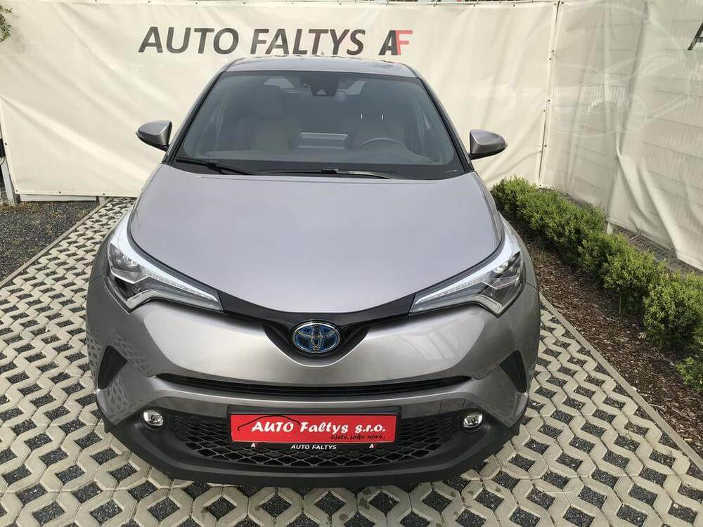 Grey Toyota C-HR, front view of body car, facelift with futuristic design, dealer Auto Faltys