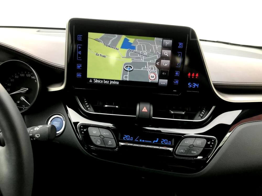Grey Toyota C-HR, interior, radio and GPS navigation dealer Auto Faltys